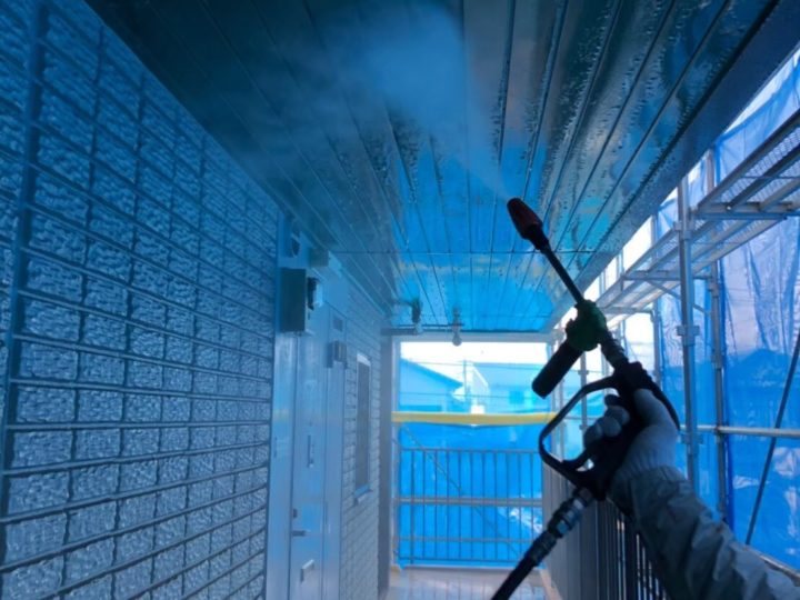 バイオ洗剤散布、高圧洗浄