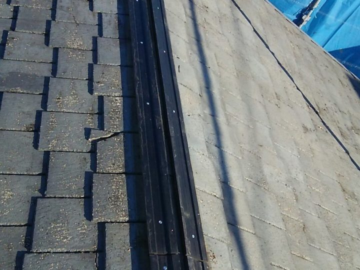 車庫屋根の棟板金タフモック工事