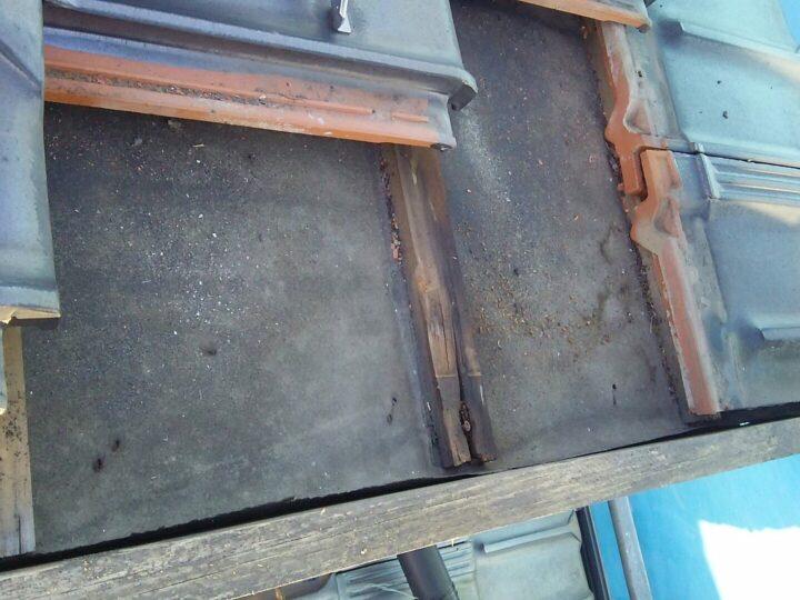 大屋根北面中角部 雨漏れ調査