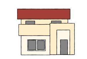 ベージュ主体の赤い屋根の家